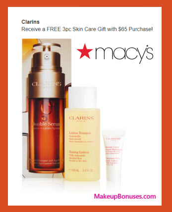 Receive a free 3-pc gift with your $65 Clarins purchase