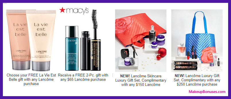 Receive a free 3-pc gift with your $65 Lancôme purchase