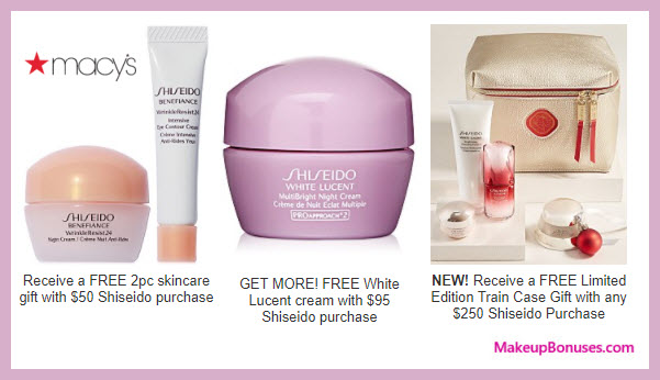 Receive a free 3-pc gift with your $95 Shiseido purchase