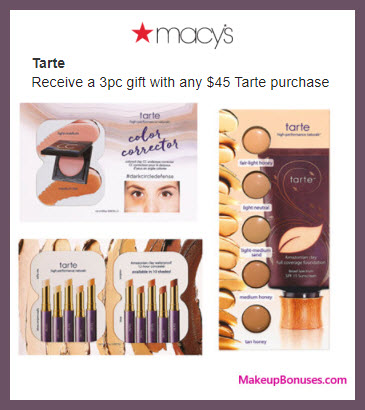 Receive a free 3-pc gift with your $45 Tarte purchase