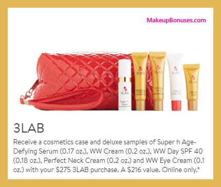 Receive a free 6-pc gift with your $275 3LAB purchase