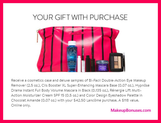 Receive a free 6-pc gift with your $42.5 Lancôme purchase