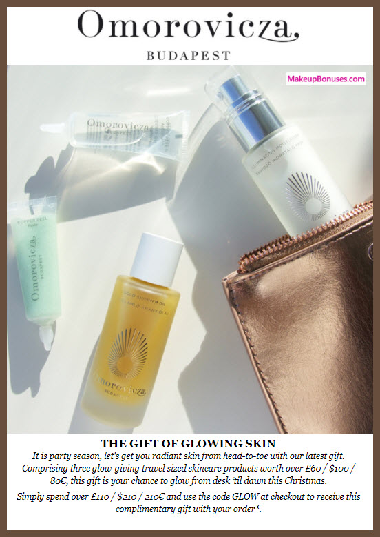 Receive a free 4-pc gift with your $210 Omorovicza purchase