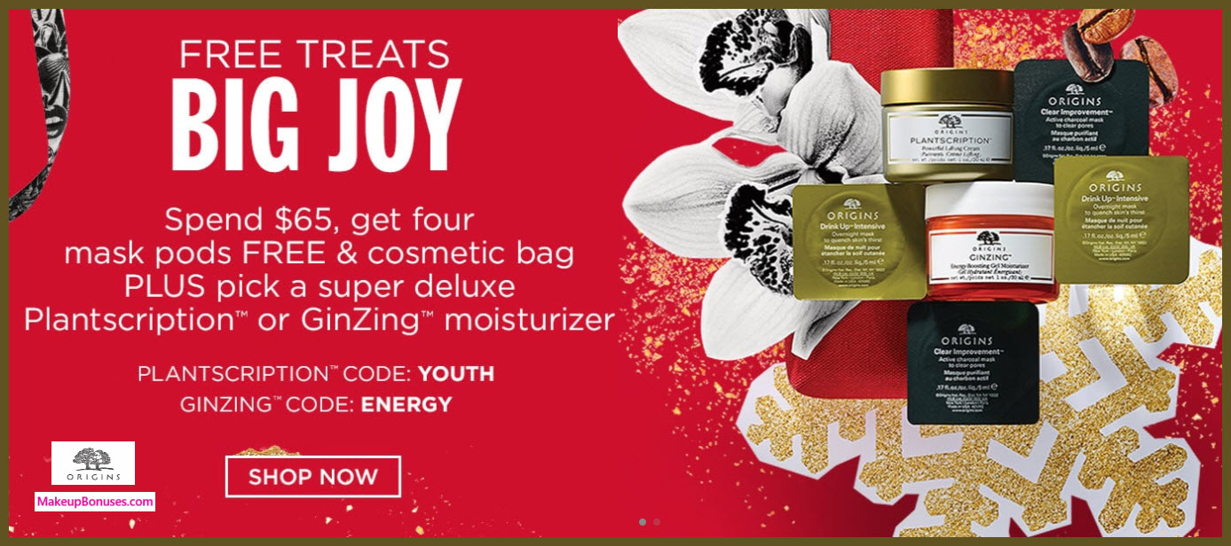 Receive a free 6-pc gift with your $65 Origins purchase