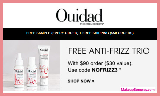 Receive a free 3-pc gift with your $90 Ouidad purchase