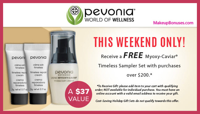 Receive a free 3-pc gift with your $200 Pevonia purchase