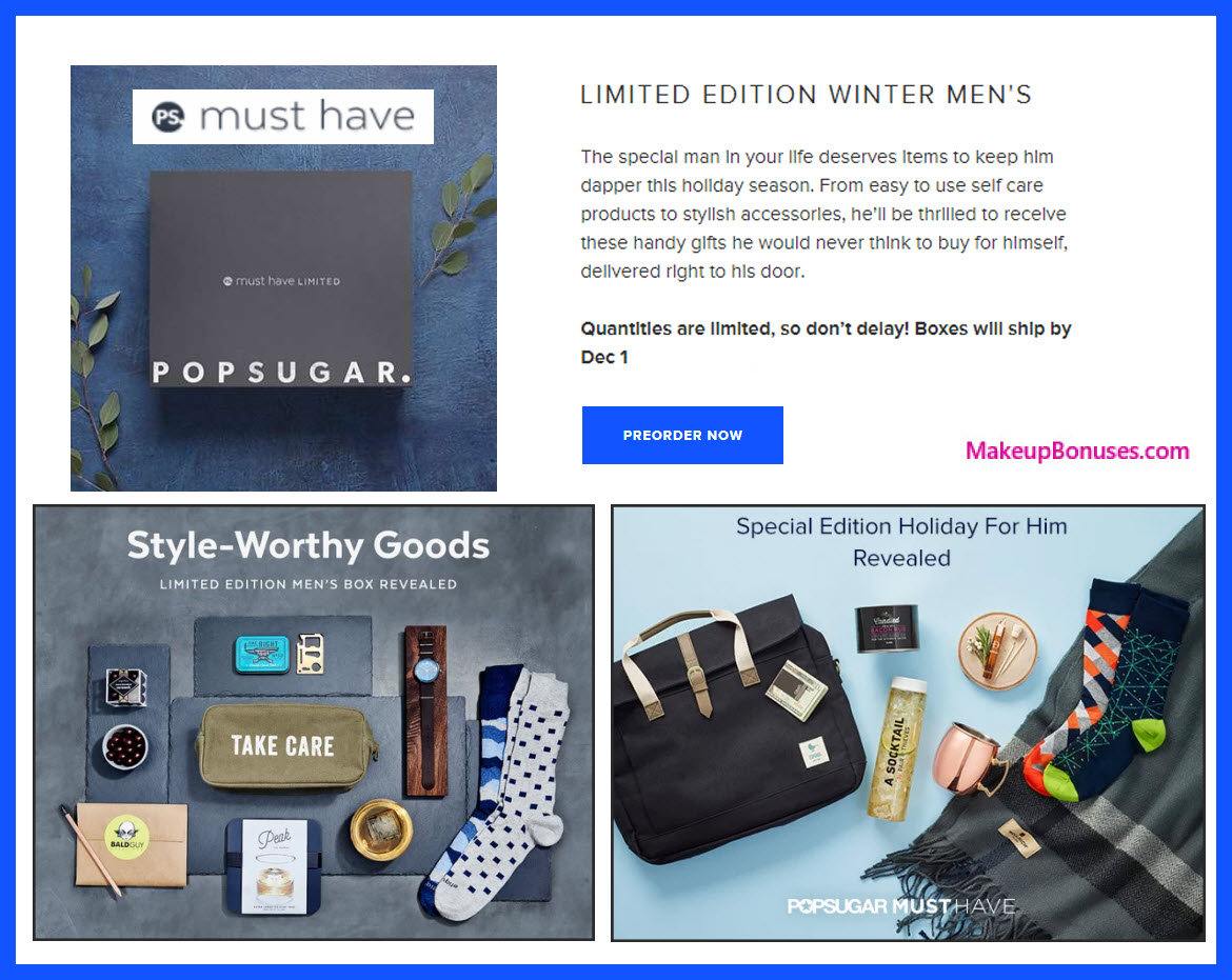 LIMITED EDITION WINTER MEN'S - MakeupBonuses.com