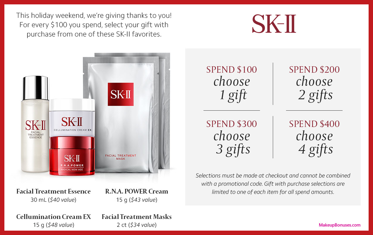 Receive your choice of 4-pc gift with your $400 SK-II purchase