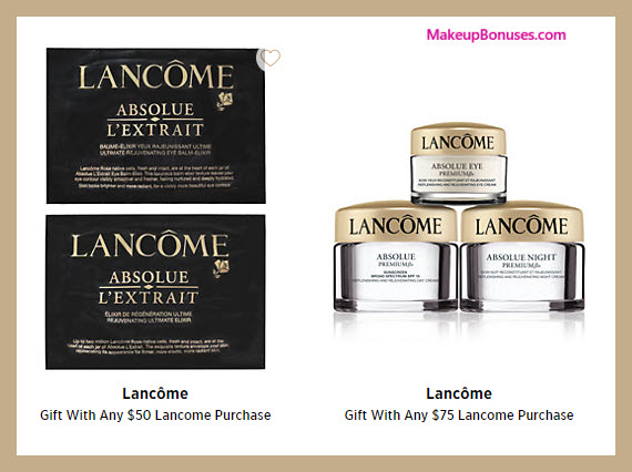 Receive a free 5-pc gift with your $75 Lancôme purchase