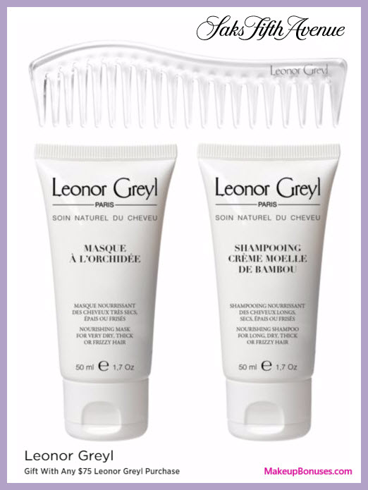 Receive a free 3-pc gift with your $75 Leonor Greyl purchase
