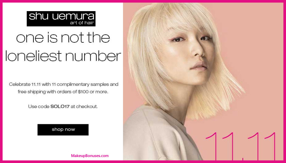 Receive a free 11-pc gift with your $100 Shu Uemura Art of Hair purchase