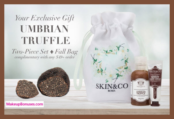 Receive a free 3-pc gift with your $49 Skin and Co Roma purchase