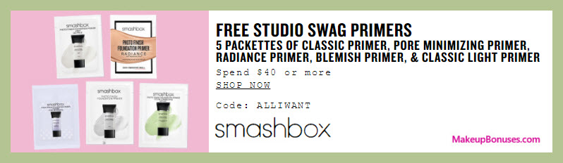 Receive a free 5-pc gift with your $40 Smashbox purchase