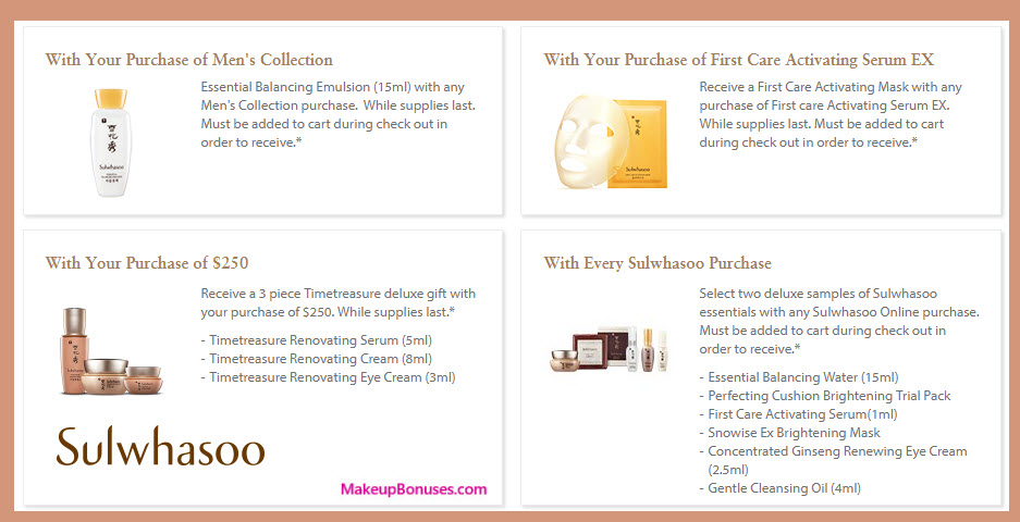 Receive a free 3-pc gift with your $250 Sulwhasoo purchase