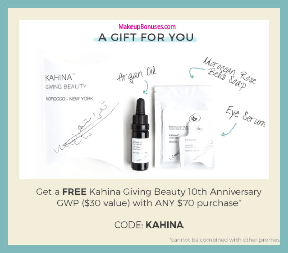 Receive a free 3-pc gift with your $70 Kahina Giving Beauty purchase