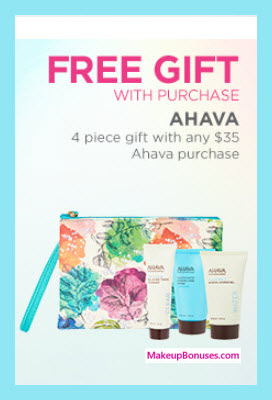 Receive a free 4-pc gift with your $35 AHAVA purchase