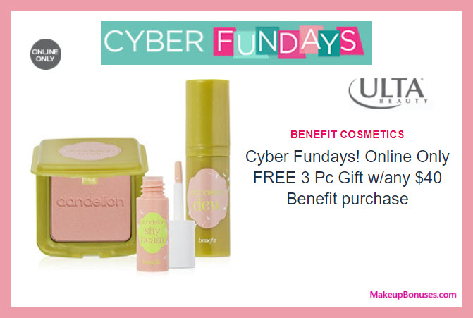 Receive a free 3-pc gift with your $40 Benefit Cosmetics purchase