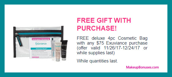 Receive a free 4-pc gift with your $75 Exuviance purchase
