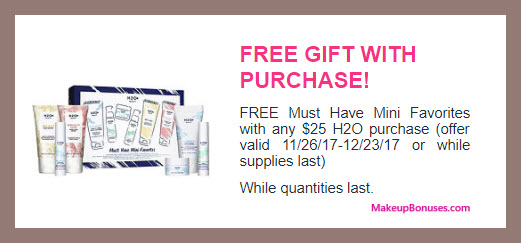 Receive a free 6-pc gift with your $25 H2O+ Beauty purchase