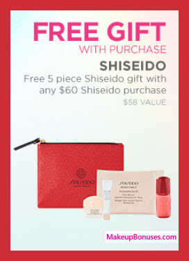 Receive a free 5-pc gift with your $60 Shiseido purchase