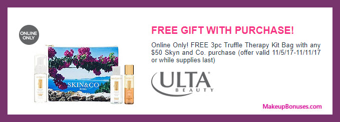 Receive a free 3-pc gift with your $50 Skin and Co Roma purchase
