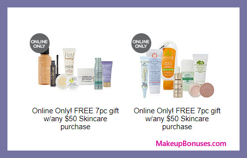 Receive a free 7-pc gift with your $50 skincare purchase