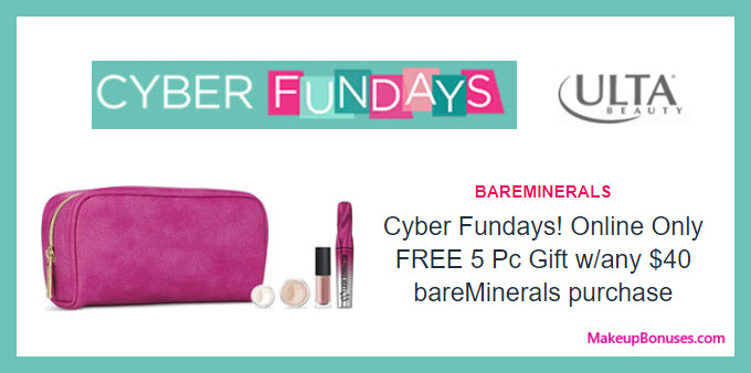 Receive a free 5-pc gift with your $40 bareMinerals purchase