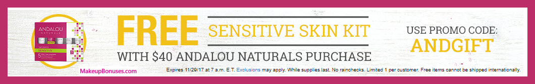 Receive a free 5-pc gift with your $40 Andalou Naturals purchase