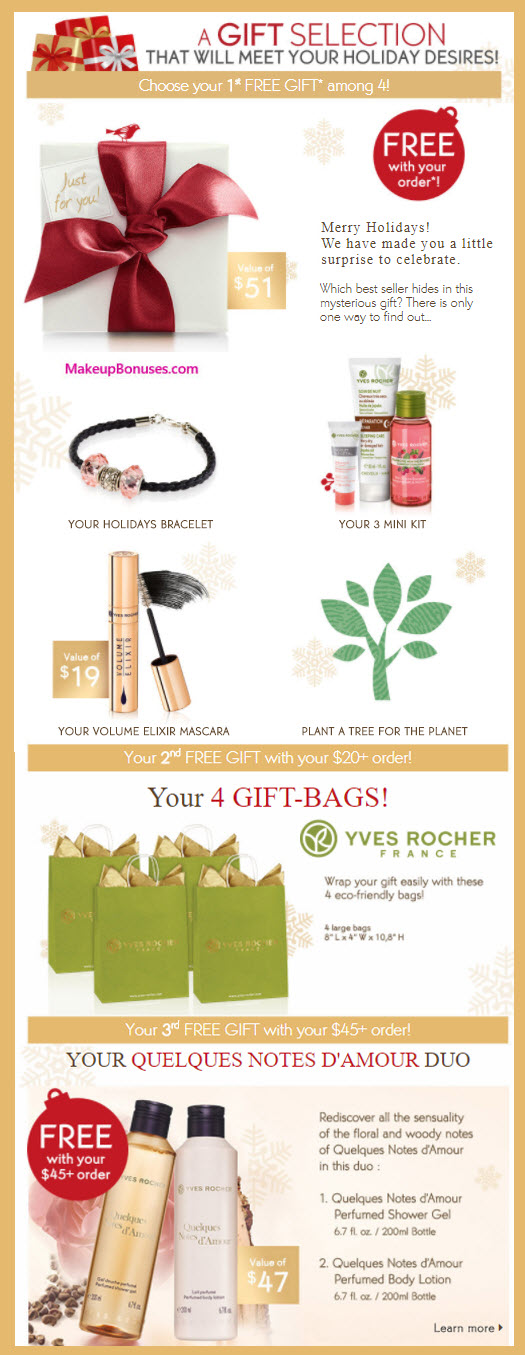 Receive a free 3-pc gift with your $10 Yves Rocher purchase