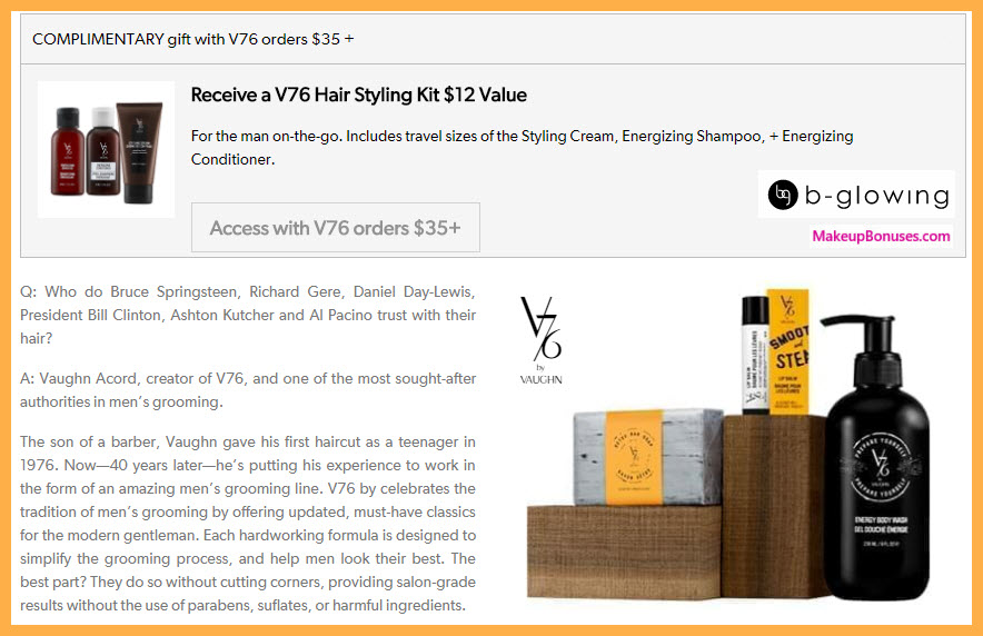 Receive a free 3-pc gift with your $35 V76 purchase