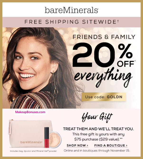 Receive a free 3-pc gift with your $75 bareMinerals purchase