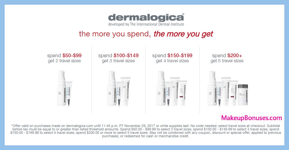 Receive your choice of 5-pc gift with your $200 Dermalogica purchase