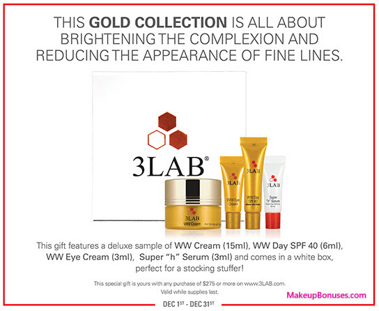 Receive a free 4-pc gift with your $275 3LAB purchase