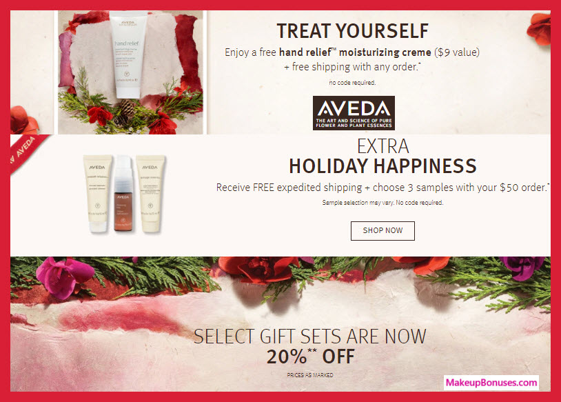 Receive a free 4-pc gift with your $50 Aveda purchase