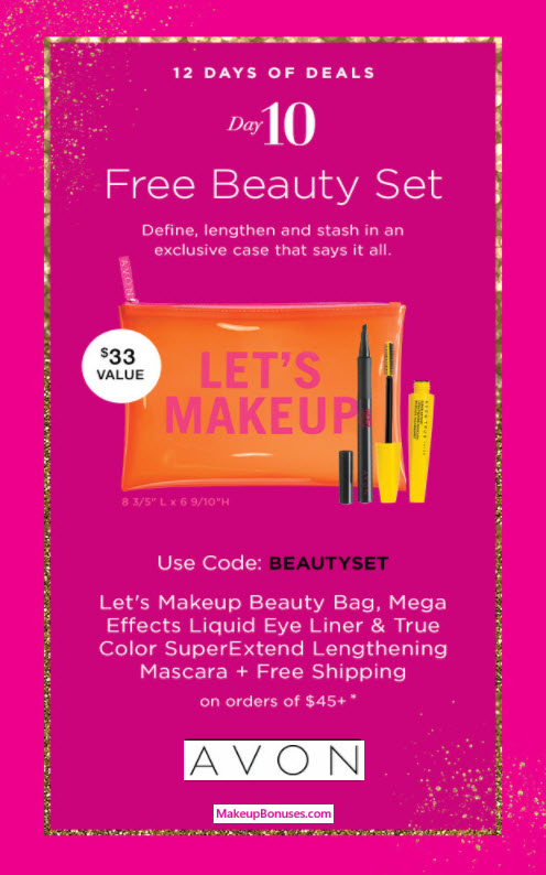 Receive a free 3-pc gift with your $45 Avon purchase