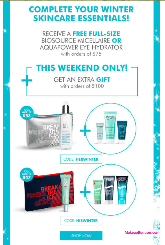 Receive a free 5-pc gift with your $100 Biotherm purchase