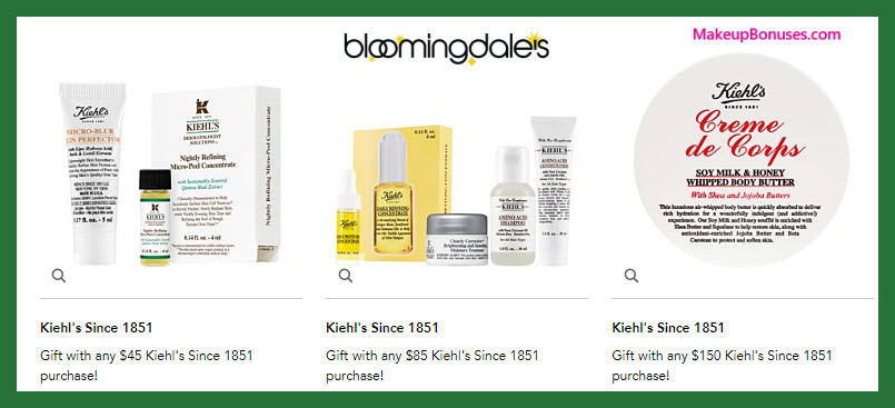 Receive a free 6-pc gift with your $85 Kiehl's purchase