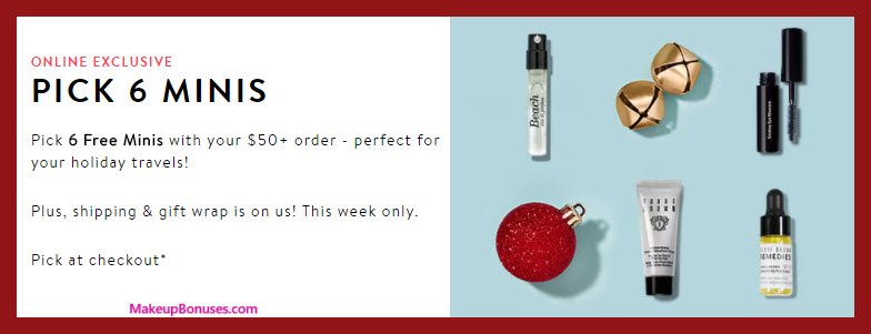 Receive your choice of 6-pc gift with your $50 Bobbi Brown purchase