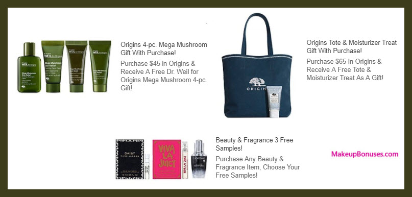 Receive a free 4-pc gift with your $45 Origins purchase