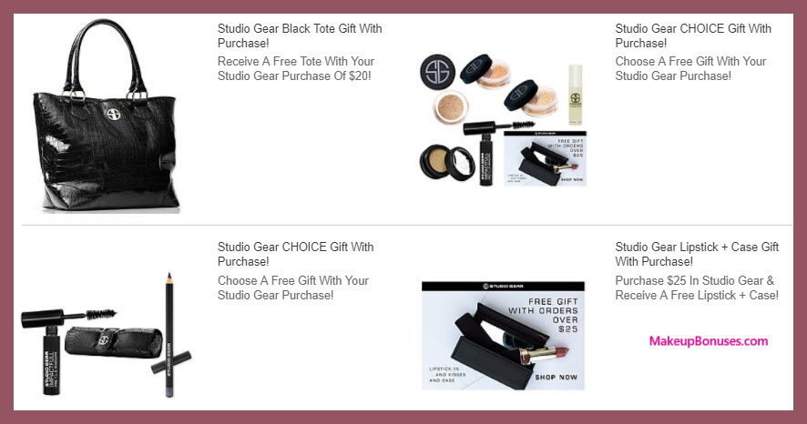 Receive a free 4-pc gift with $25 Studio Gear purchase