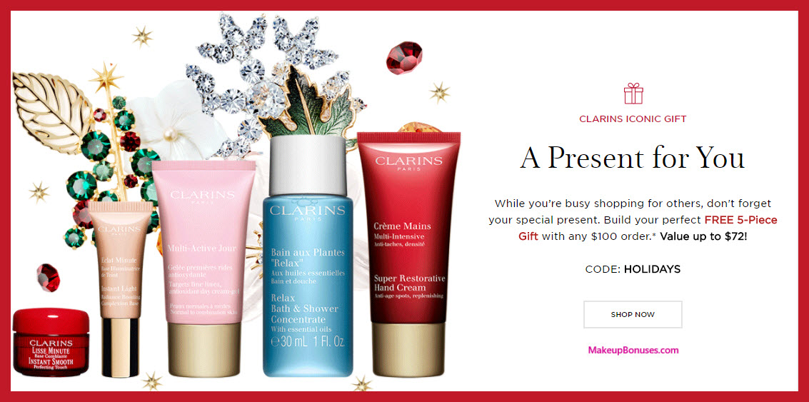 Receive your choice of 5-pc gift with your $100 Clarins purchase