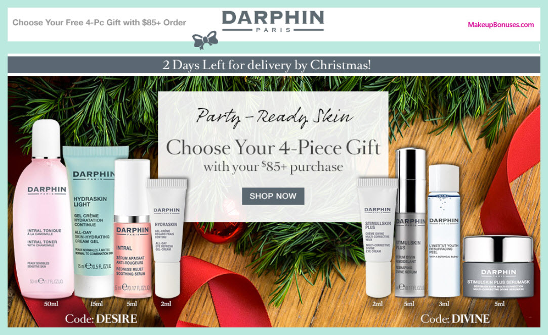 Receive a free 4-pc gift with your $85 Darphin purchase