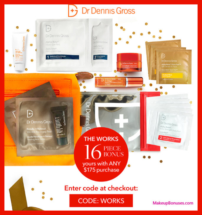 Receive a free 16-pc gift with your $175 Dr Dennis Gross purchase