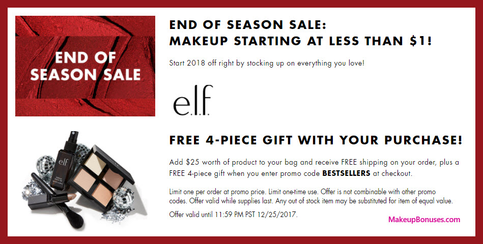 Receive a free 4-pc gift with your $25 ELF Cosmetics purchase