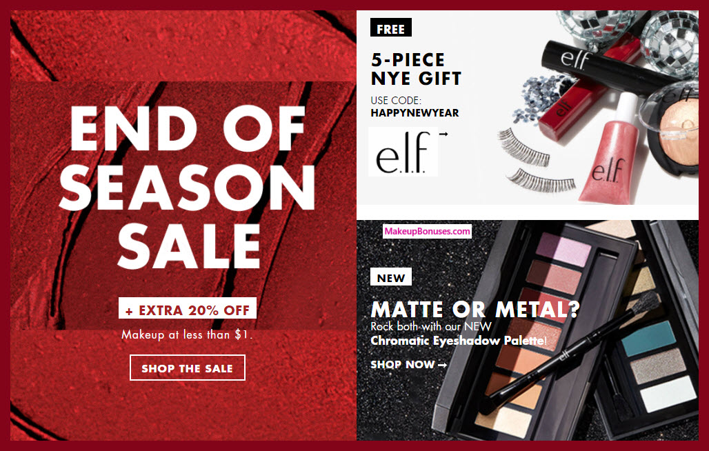 Receive a free 5-pc gift with $25 ELF Cosmetics purchase
