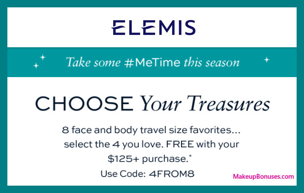 Receive your choice of 4-pc gift with your $125 Elemis purchase