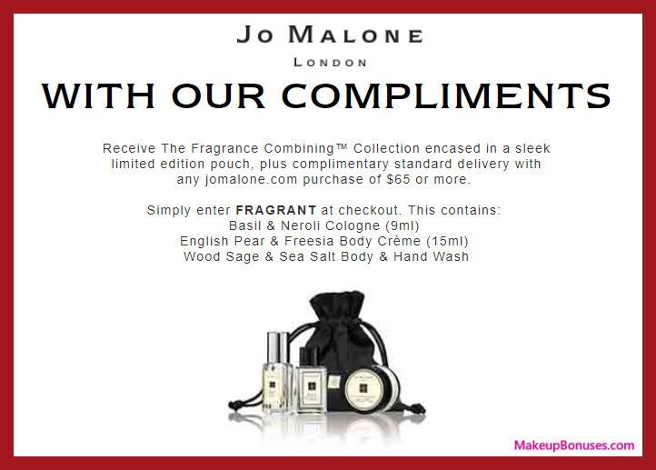 Receive a free 3-pc gift with $65 Jo Malone purchase