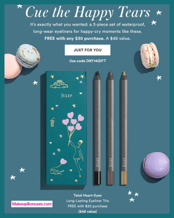 Receive a free 3-pc gift with your $30 Julep purchase