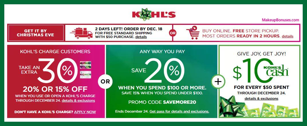 Kohl's Sale - MakeupBonuses.com