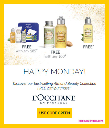 Receive a free 4-pc gift with your $85 L'Occitane purchase
